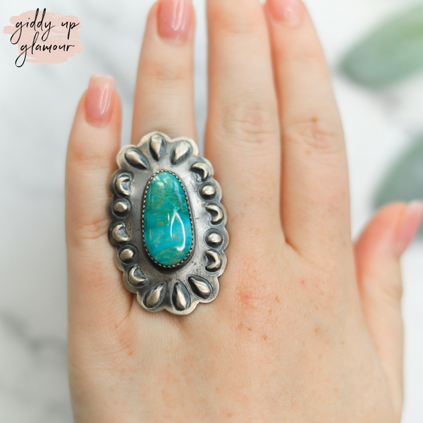 tim yazzie genuine authentic sterling silver concho ring with blue june turquoise stone stamped handmade handcrafted indian native american navajo zuni nations heritage style turquoise and co