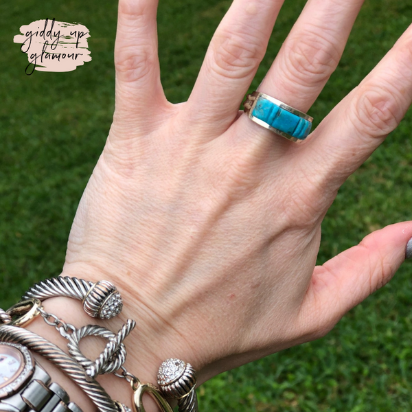 Victor Thompson | Genuine Navajo Handmade Sterling Silver Turquoise Chip Stone Band Ring | Size 10.5