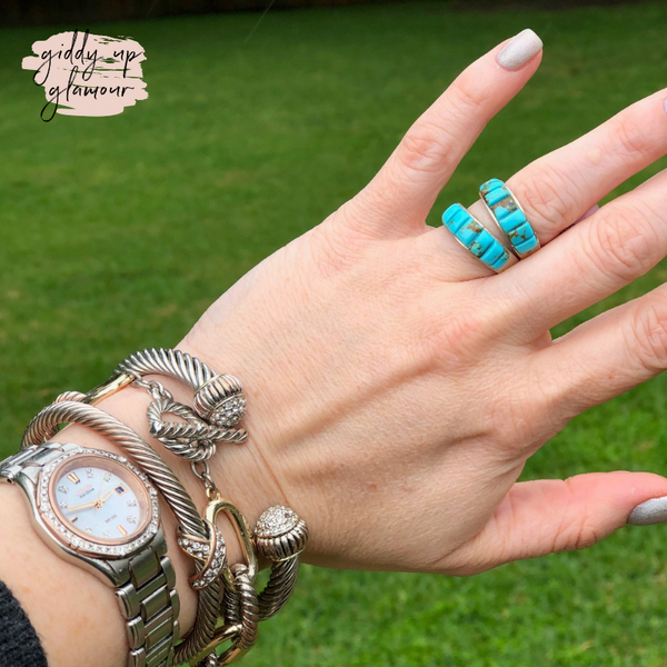 Rita Ybarra | Genuine Navajo Handmade Sterling Silver and Turquoise Band Ring