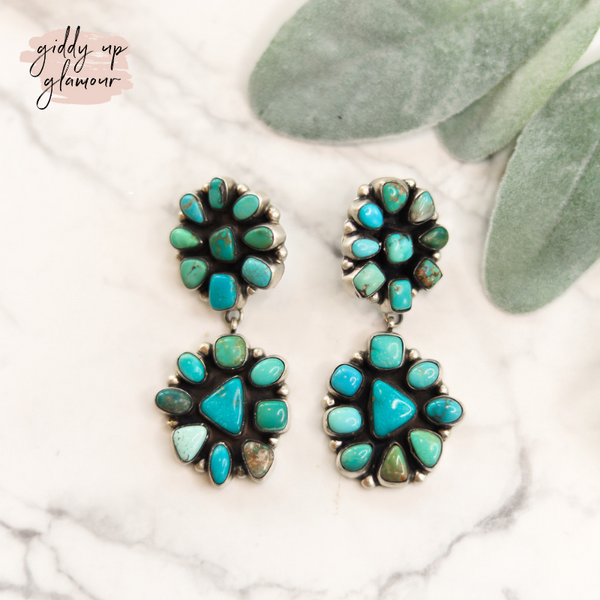 caicro lakes turquoise flower cluster double drop earrings in turquoise beautifully handcrafted handmade genuine authentic sterling silver ella peter indian native american navajo zuni nations heritage style turquoise and co