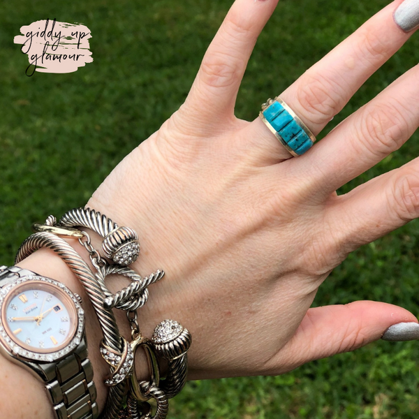 Victor Thompson | Genuine Navajo Handmade Sterling Silver and Turquoise Band Ring
