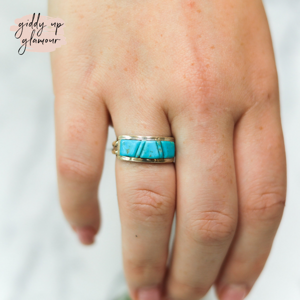 Victor Thompson | Genuine Navajo Handmade Sterling Silver Turquoise Chip Stone Ring | Size 8