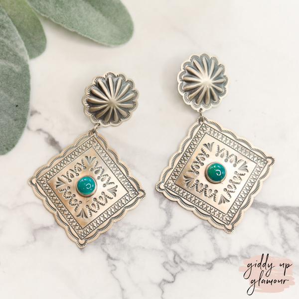 harris joe genuine authentic indian native american navajo zuni nations handmade handcrafted sterling silver stamped diamond drop concho earrings with turquoise stone turquoise and co heritage style