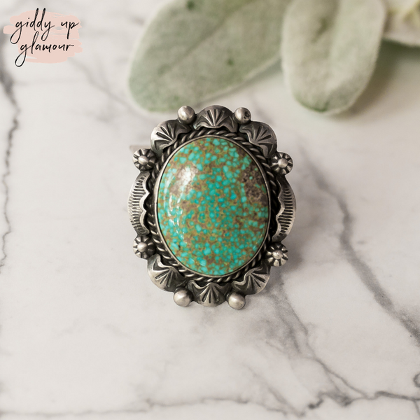 betta lee indian native american navajo zuni nations handmade handcrafted sterling silver ring with large kingman turquoise stone heritage style turquoise and co