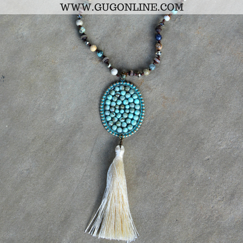 Pink Panache Long Turquoise Jasper Tassel Necklace with Large Oval and Turquoise Cabochons