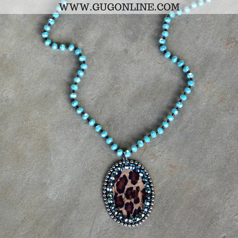 Pink Panache Long Turquoise Necklace with Large Silver Oval with Leopard and ST Crystals