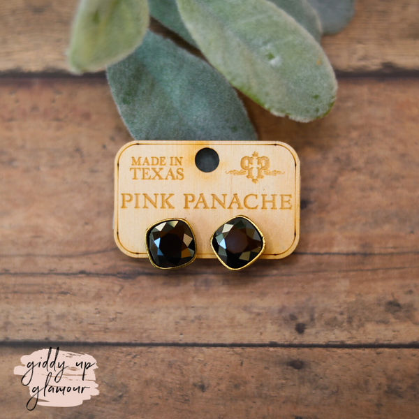 Pink Panache | Cushion Cut Bronze Stud Earrings with Black Crystals
