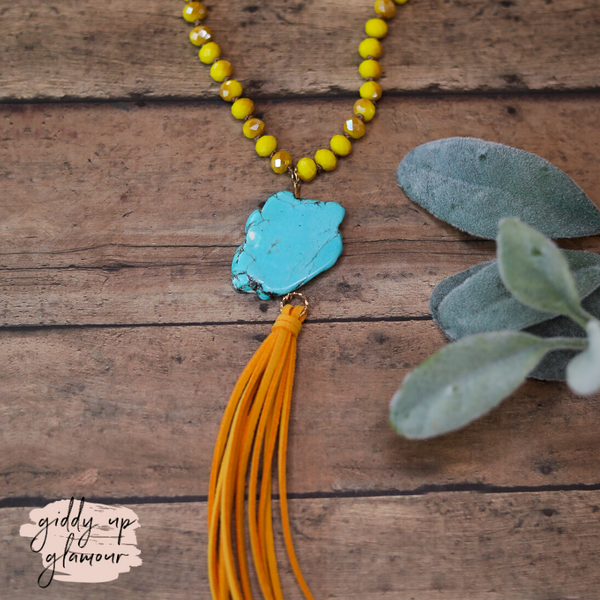 Turquoise Stone Necklace with Yellow Crystals and Yellow Tassels