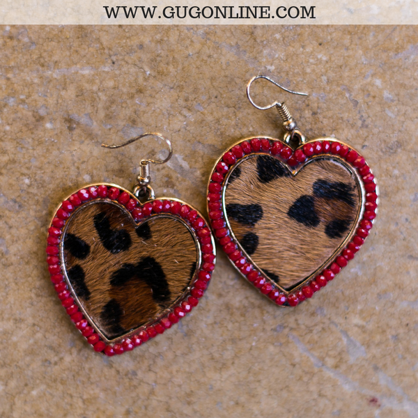 Leopard Heart Earrings with Red Outline