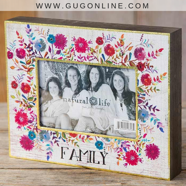 Natural Life | Family Floral Picture Frame with Gold Foil Trim