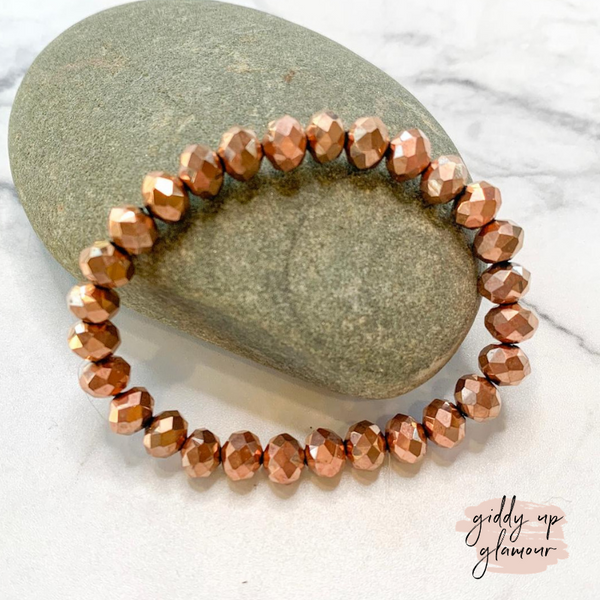 Crystal Beaded Stacker Bracelet in Metallic Rose Gold