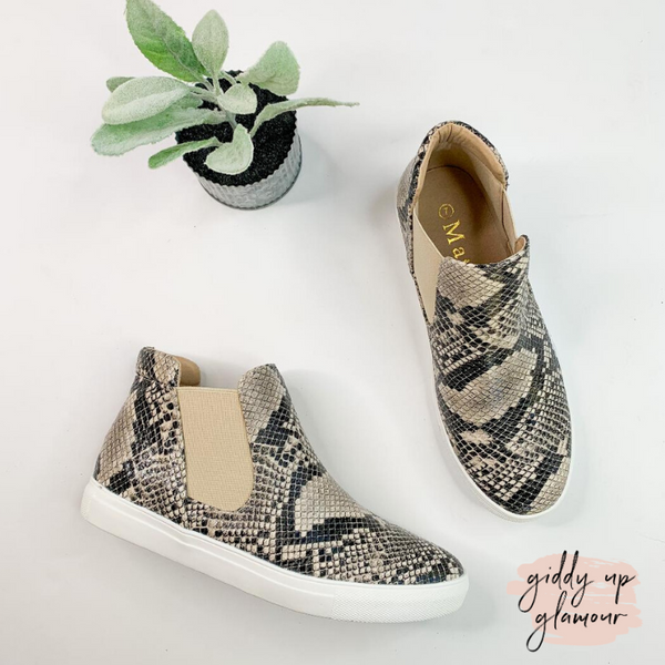 SIZE 6 AND 9 | All in Favor Slip On High Top Sneakers in Snakeskin