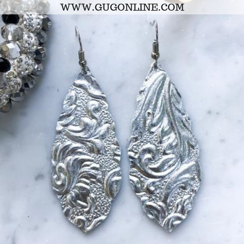 Scalloped Floral Embossed Leather Teardrop Earrings in Silver