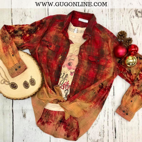 Harvest of Happiness Dip Splatter Flannel Button Up Shirt in Red