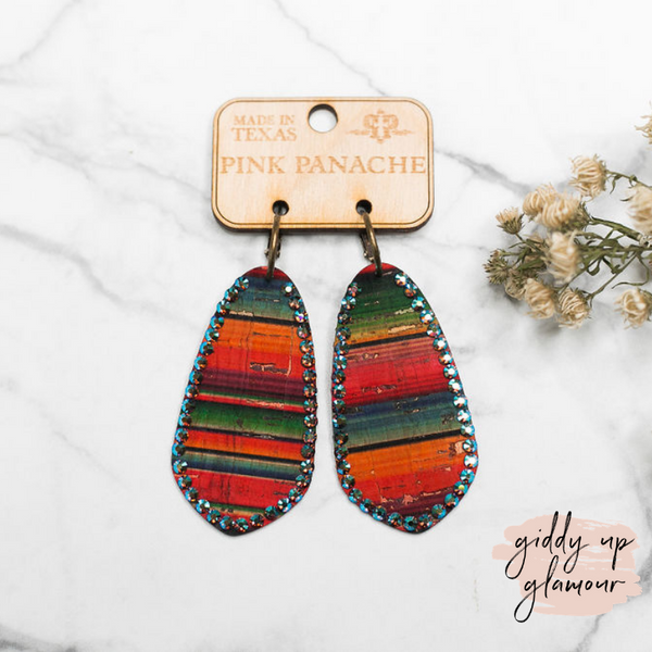 Pink Panache | Oval Leather Earrings with Crystal Trim in Serape