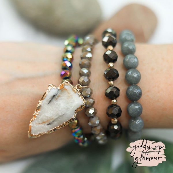 4 Piece Crystal Bracelet Set with Arrowhead Pendant in Grey