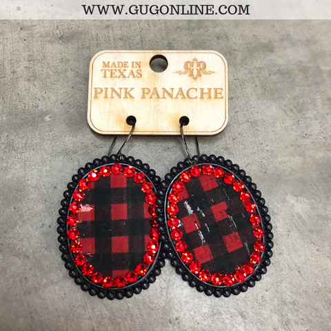 Pink Panache Black Matte Oval Earrings with Buffalo Plaid Inlay and Red Crystals