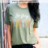 So Very Thankful Short Sleeve Tee Shirt in Olive Green