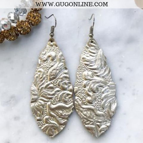 Scalloped Floral Embossed Leather Teardrop Earrings in Platinum