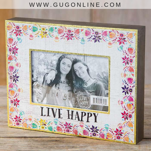 Natural Life | Live Happy Floral Picture Frame with Gold Foil Trim