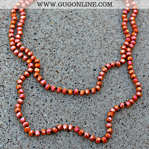 60 Inch Long Layering 8mm Crystal Strand Necklace in Orange