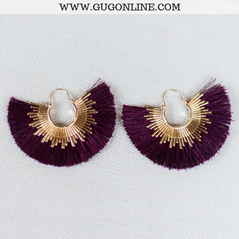 Gold Trim Fan Tassel Earrings in Burgundy