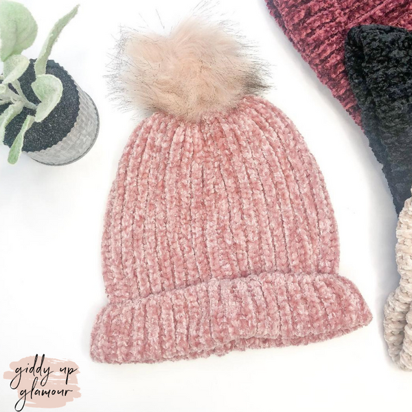 Chenille Pom Pom Beanie in Rose Pink