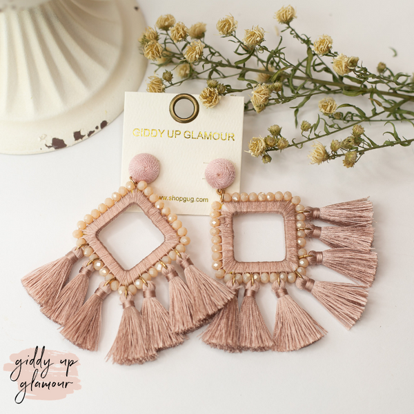 Crystal Diamond Outline Earrings with Tassels in Blush Pink