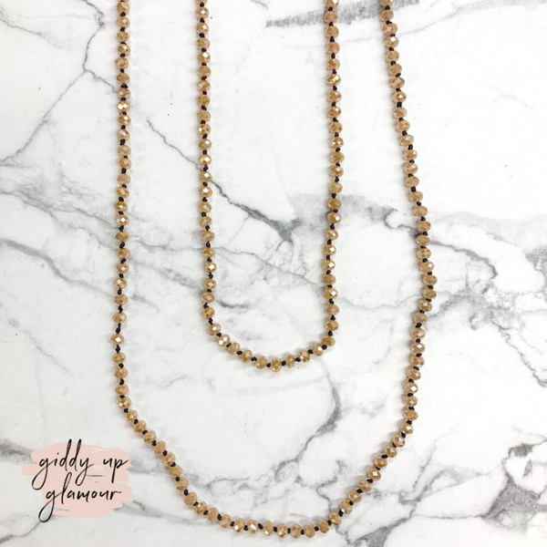 60 Inch Long Layering 6mm Crystal Strand Necklace in Champagne