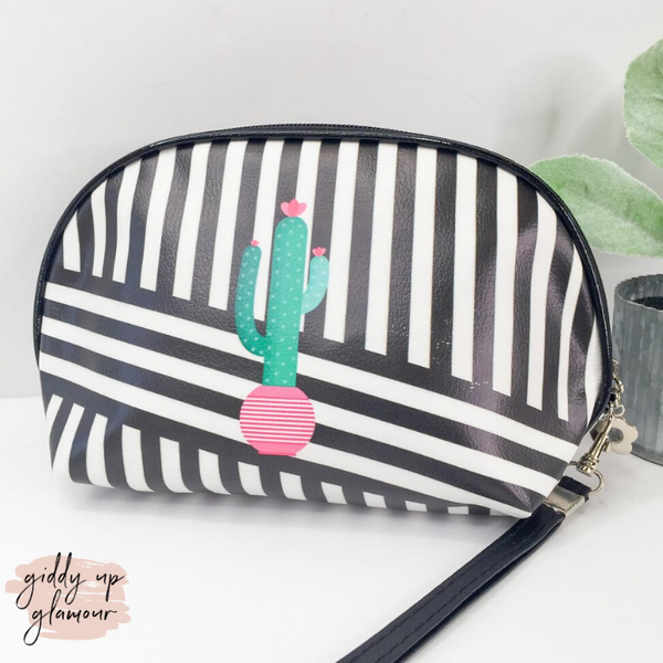 Packing Light Dome Cosmetic Bag in Black and White with Green Cactus