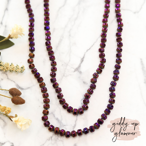 60 Inch Long Layering 8mm Iridescent Beaded Strand Necklace in Violet Purple