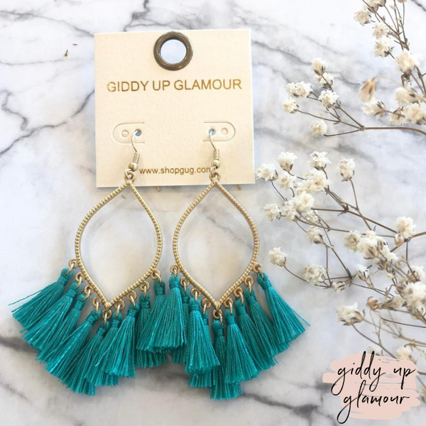 Gold Outline Drop Earrings with Fringe Tassels in Teal
