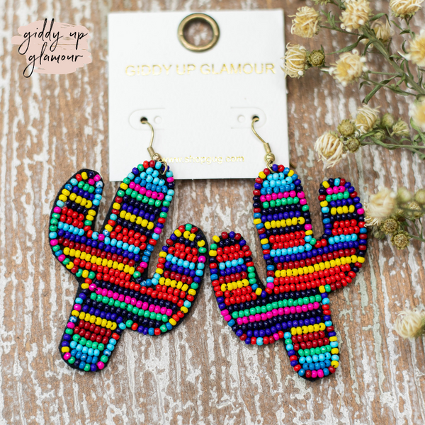 Seed Bead Cactus Statement Earrings in City Lights Multi