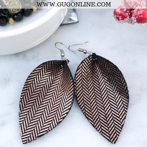 The JoJo's Metallic Tweed Pinched Leather Earrings in Rose Gold and Black