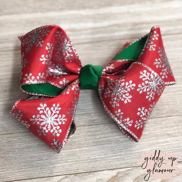 Red Snowflake Hair Bow with Glitter and Green Accents
