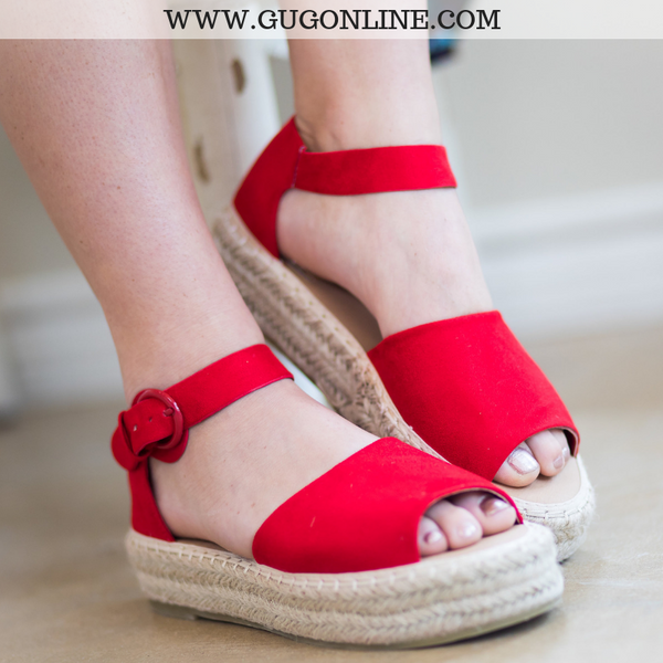 Cute Trendy Flat Espadrille Red Platform Sandals