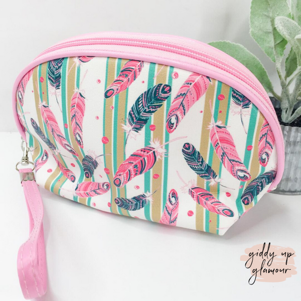 Packing Light Dome Cosmetic Bag in Pink and Navy Feathers