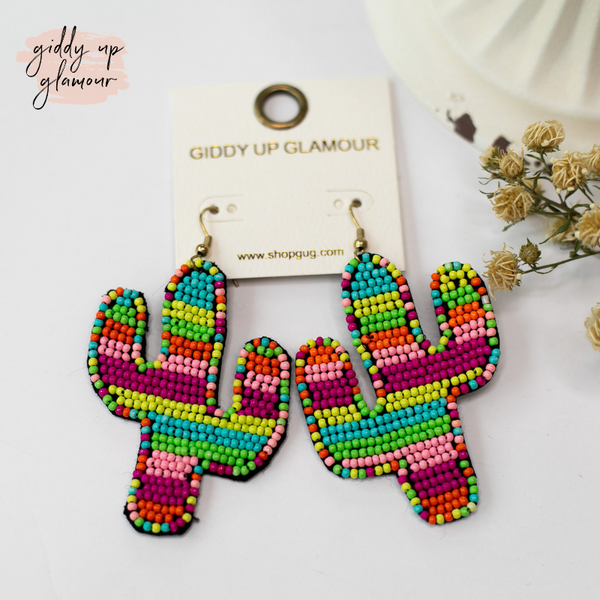 Seed Bead Cactus Statement Earrings in Neon Multi