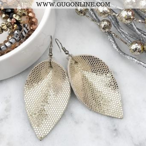 The JoJo's Metallic Pinched Leather Earrings in Gold
