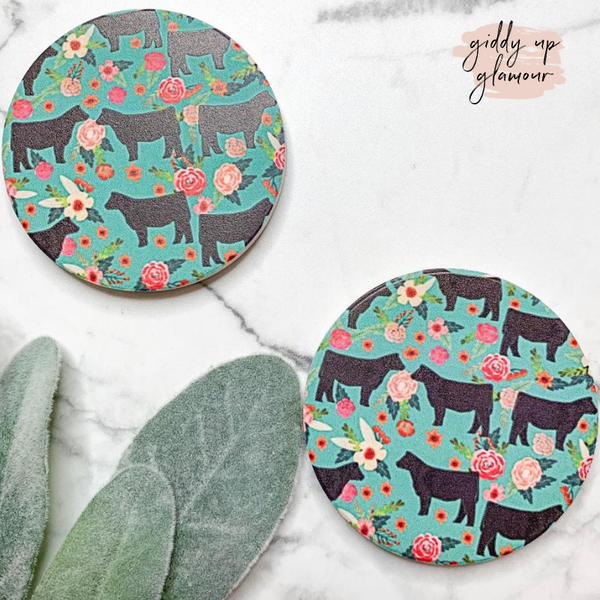 Set of Two | Floral Steer Car Coasters