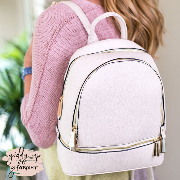 So Classic Gold Zipper Backpack in Ivory