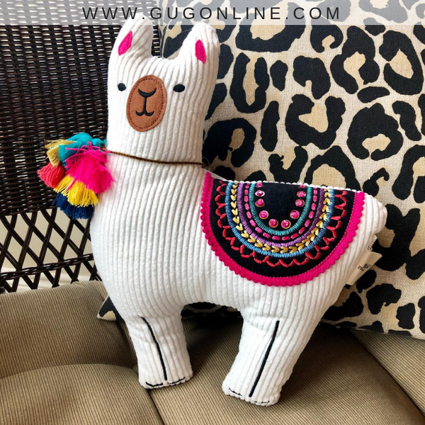 Sequin & Embroidery Embellished Llama Pillow
