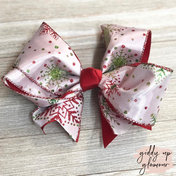 White Snowflake Hair Bow with Glitter and Red Accents