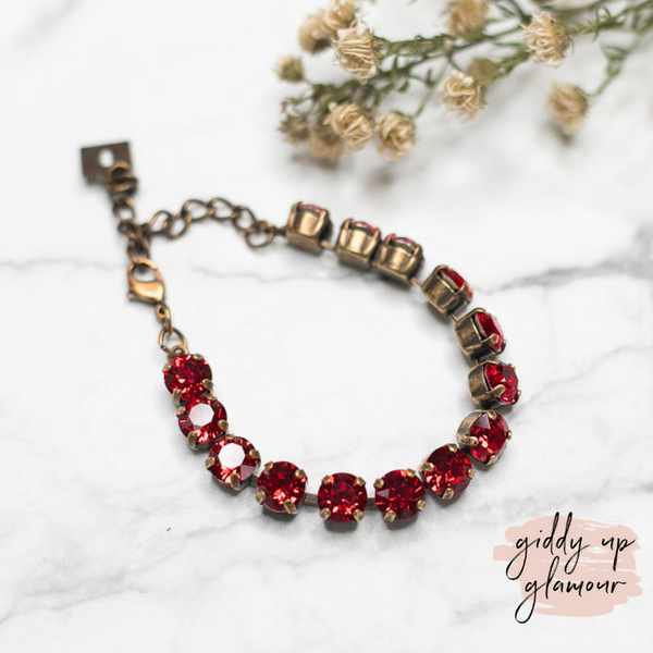 Online Exclusive | Pink Panache | Bronze Bracelet with Cushion Cut Crystals in Red
