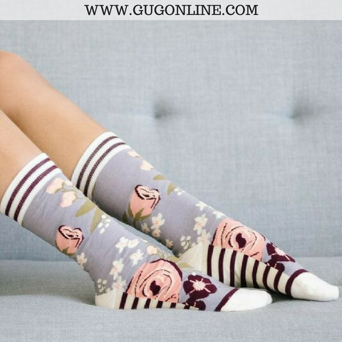 Floral and Stripe Grey Crew Socks