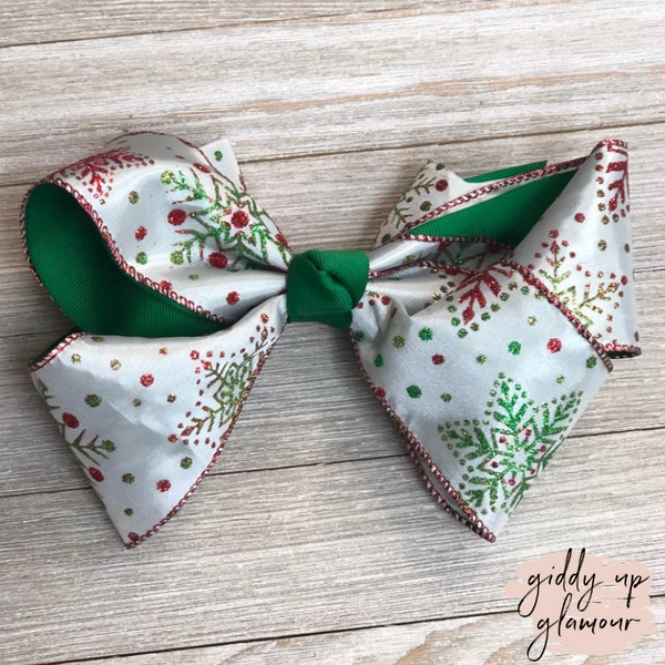 White Snowflake Hair Bow with Glitter and Green Accents