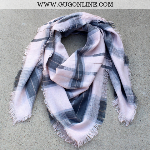 Light Pink and Grey Plaid Blanket Scarf