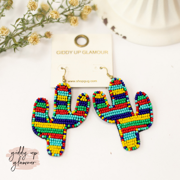 Seed Bead Cactus Statement Earrings in Primary Multi