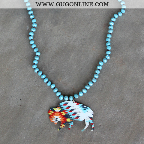 Pink Panache Long Turquoise Crystal Necklace with Aztec Buffalo in White