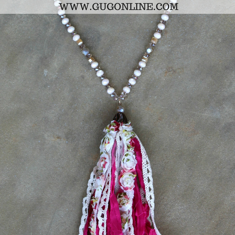 Long Leather and Beaded Crystal Necklace with Pink and Floral Print Tassel